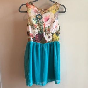 Cotton Candy floral mini dress with cut out